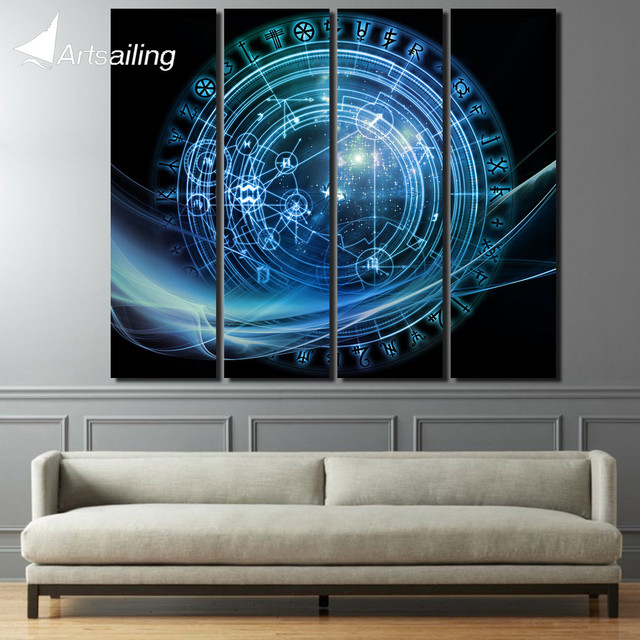 4 piece canvas art constellation compass pop art wall pictures for ...