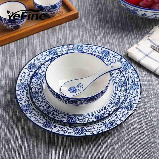 YeFine Blue And White Porcelain Dinnerware Sets Traditional Chinese Dishes And Plates Soup Bowl Ceramic Tableware : dinnerware sets blue - pezcame.com