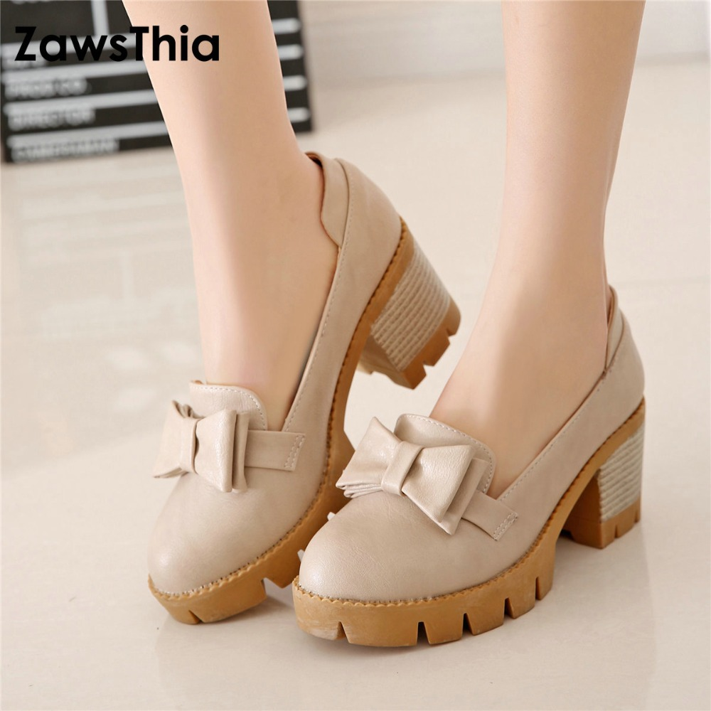 ZawsThia anti-skid sweet autumn slip-on woman chunky high heels with bowtie knot platform pumps shoes for women plus size 42 43