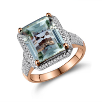 Lanmi Women Fine Jewelry Shining Emerald Cut 10x12mm Amethyst Diamond Engagement Rings 14K Rose Gold Women Jewelry G00326