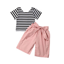6M-4Years Newborn Toddler Baby Girl Clothes T-shirt Tops Long Pants Summer Outfit Set
