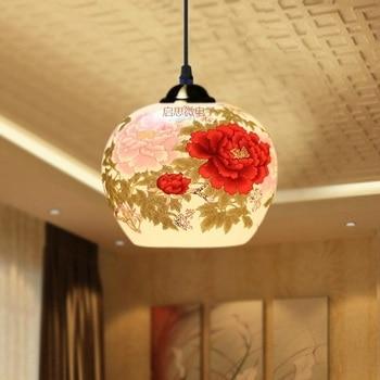 Trung quốc Mặt Dây Chuyền đèn cho Nhà Bếp Phòng Ăn Phòng Khách Treo đèn Treo Phòng Ngủ Ceramic Đèn Chùm Đèn
