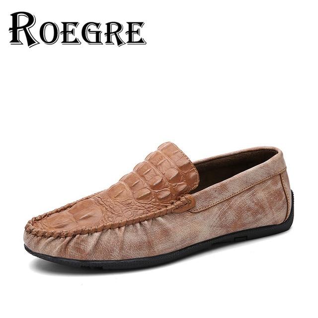 ROEGRE 2016 Men Shoes Faux Crocodile Leather Loafers Shoes Retro Style Men Driving Moccasins Black Grey Black Size 39-44