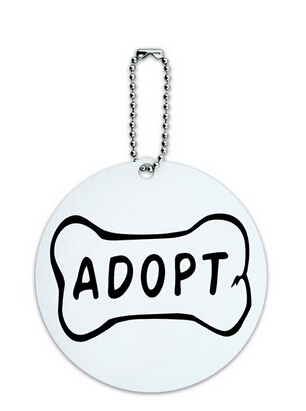 Wholesale Adopt Dog Bone Animal Shelter Adoption Round Luggage ID Tag Card Suitcase Carry-On FH890339