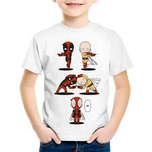 Children Cartoon Print Deadpool x Spiderman/Punch Fusion T-shirts Kids Summer Tees Boys/Girls Tops Baby Funny T shirt,HKP2267