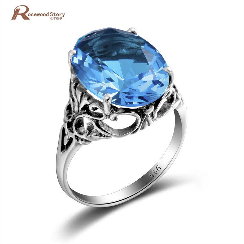 Oval Cut Sky Real London Blue Crysta Ring Solid 925 Sterling Silver Rings For Women Charms Fashion Wedding Jewelry With Gift Box