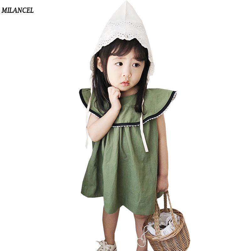 MILANCEL 2018 Girls Dresses Big Collar Kids Clothes Summer Girls Dresses Cotton Party Dress Summer Girls Clothes A-Line Dress summer dresses for girls party dress 100% cotton summer cool and refreshing the harness green flowered dress 1 5years old