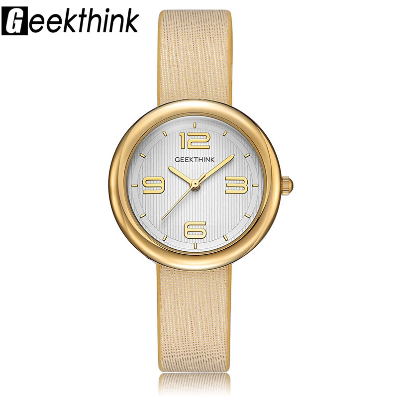 GEEKTHINK Luxury Quartz Watches Women Brand Ladies Simple Casual Leather strap Wristwatch Gold Girl Clock Female & Gift Box