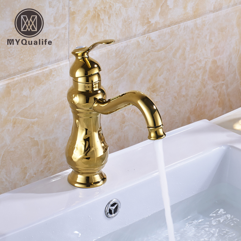 Free Shipping Golden Brass Basin Sink Faucet Single Lever Bathroom Vanity Sink Basin Mixer Taps Deck Mounted free shipping brass rose golden lavatory sink basin faucet one handle single hole bathroom vanity sink mixer taps