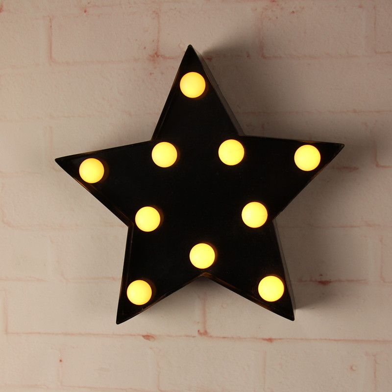 9inch metal LED star light mini LED alphabet Marquee Sign LIGHT UP Vintage signs light Indoor wall Deration customize order