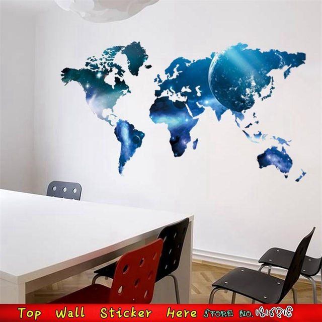 Outer Space Universe World Map Wall Stickers Waterproof Removable - World map from outer space