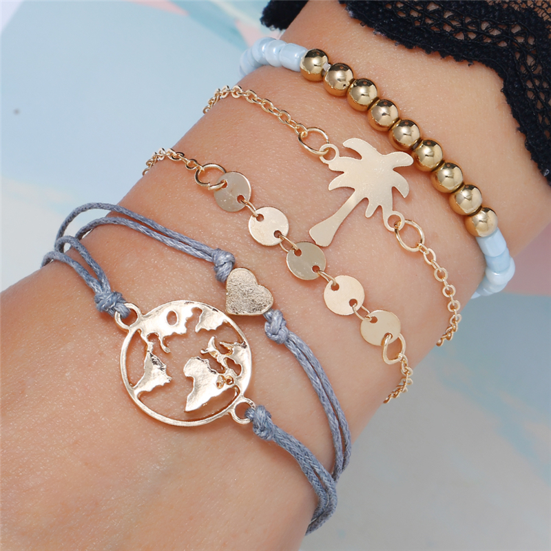 Bohopan Gold Sequin Fashion Bracelets For Women Exquisite Beads Bracelets Female Heart Coconut Tree Pattern Rhinestone armband in Bangles from Jewelry Accessories