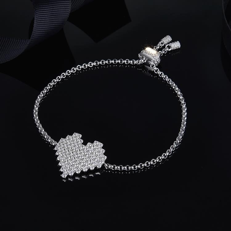 MeiBaPJ AAA Zircons Cube amour Bracelet pour les femmes réel S925 en argent Sterling à la mode Bracelet charme Fine fête bijoux