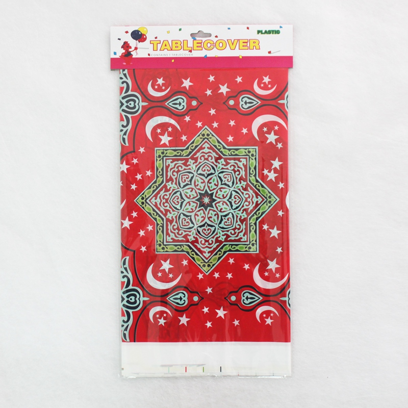 Disposable Plastic Table Cloths Eid al-Fitr Ramadan Table Cover Tablecloth Waterproof For Moslem Islamism Decoration 180*108cm