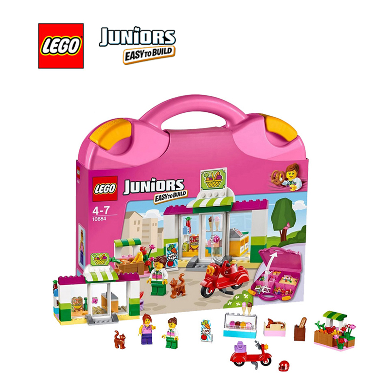 ФОТО LEGO Juniors Supermarket Suitcase Juniors Architecture Building Blocks Model Kit Plate Educational Toys For Children LEGC10684