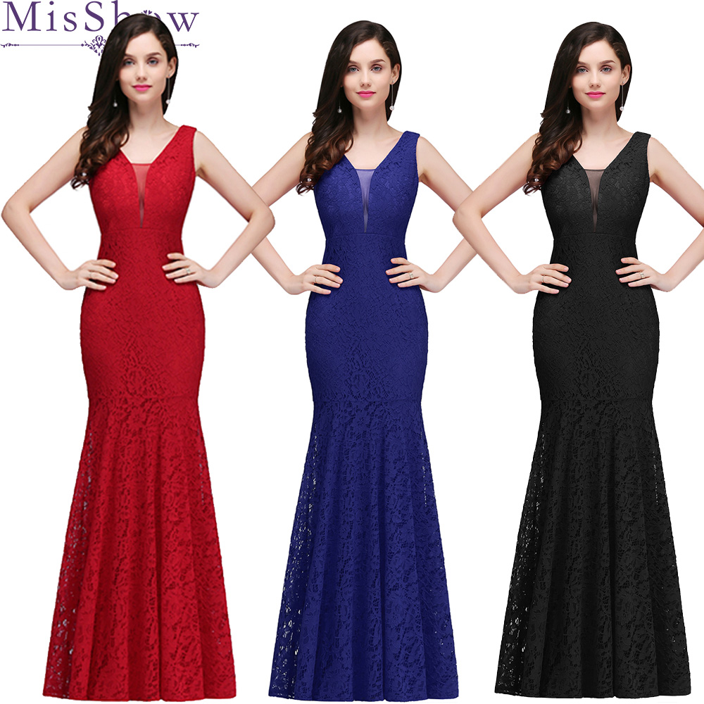 In Stock Elegant Chiffon Long Mermaid Bridesmaid Dresses Women Ladies V Neck Bridal Maxi Long Prom Gown Princess Lace Dresses