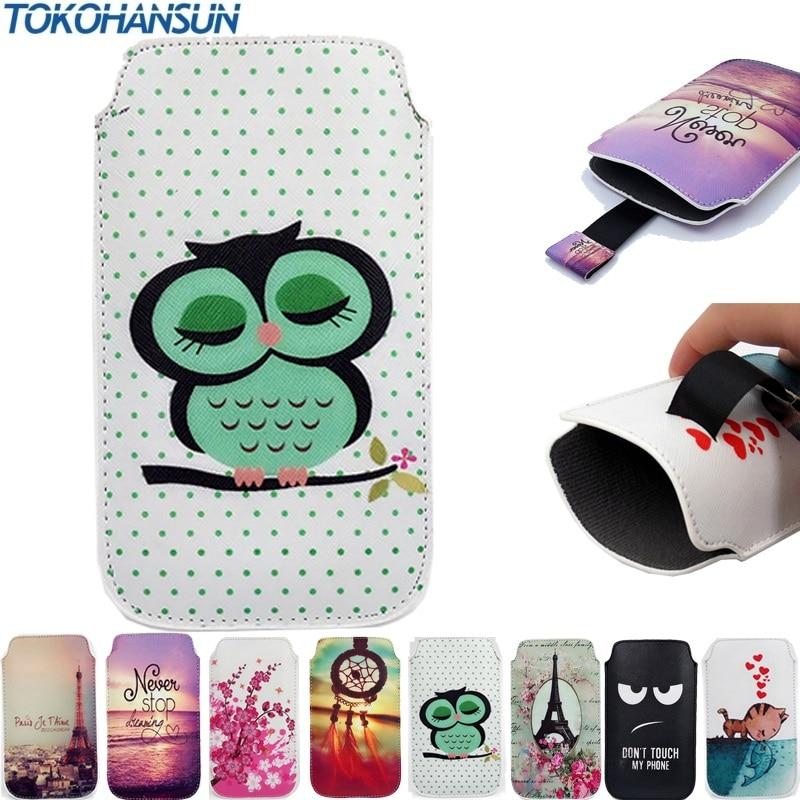 TOKOHANSUN Case Cover For Xolo Era 2X Portable Pull Tab PU Leather Pouch Bag Cartoon Painting