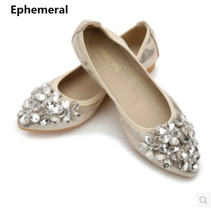Women dancing shoes luxury crystal pointed toe flat slip-ons breathable soft bottom big size 34-43 gold silver black Ephemeral