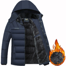 2018 Hot Fashion Hooded Winter Coat Men Thick Warm Mens Winter Jacket Fathers Gift Parka cheap Regular Polyester Fleece Hat Detachable Spray-bonded Wadding Slim Pockets None Zipper VOLGINS Solid Casual black dark blue army green