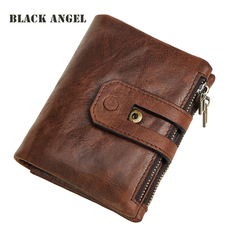BLACK ANGEL RFID protection Genuine Leather Men Wallets Cow Leather Vertical Small Wallet Card Holder Coin Purse tatonka euro wallet rfid black 2955 040