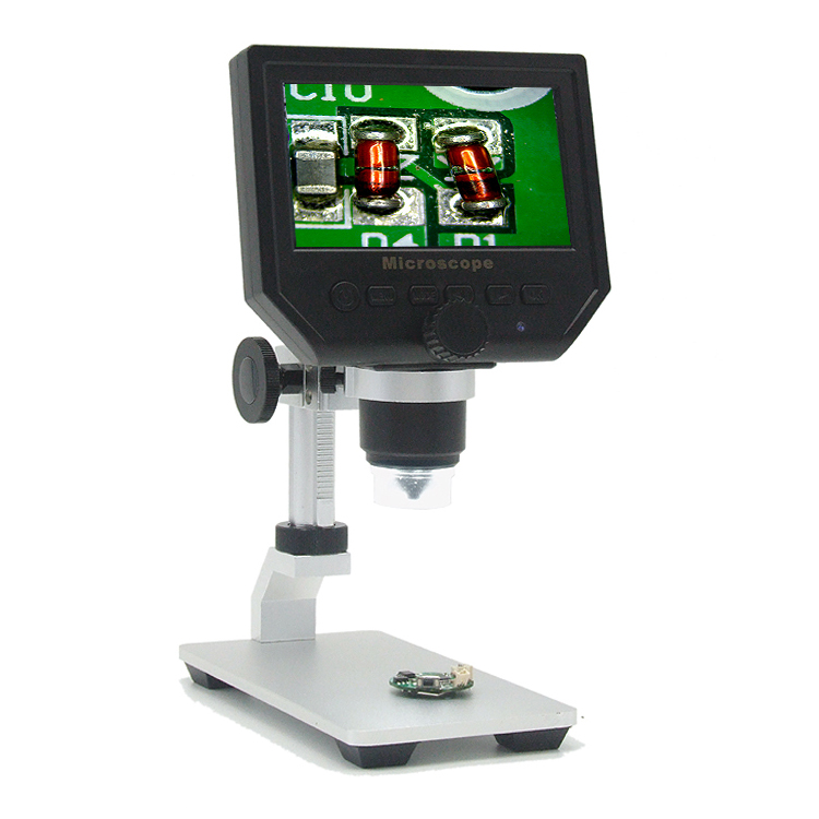 Aluminum Alloy Stand Upgrade Version + Digital 1-600X 3.6MP 4.3inch HD LCD Display USB Microscope Continuous Magnifier