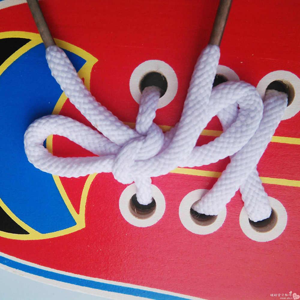 Базовые и жизненные навыки игрушки Дети Обучающие Дети деревянные малыш шнуровки обувь игрушка для раннего развития Обучающие приспособления шнурки обучение