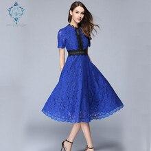 CUERLY 2019 Women High Quality Hook flower hollow big swing dress New fashion elegant vestidos Summer Lace Patchwork Long Dress