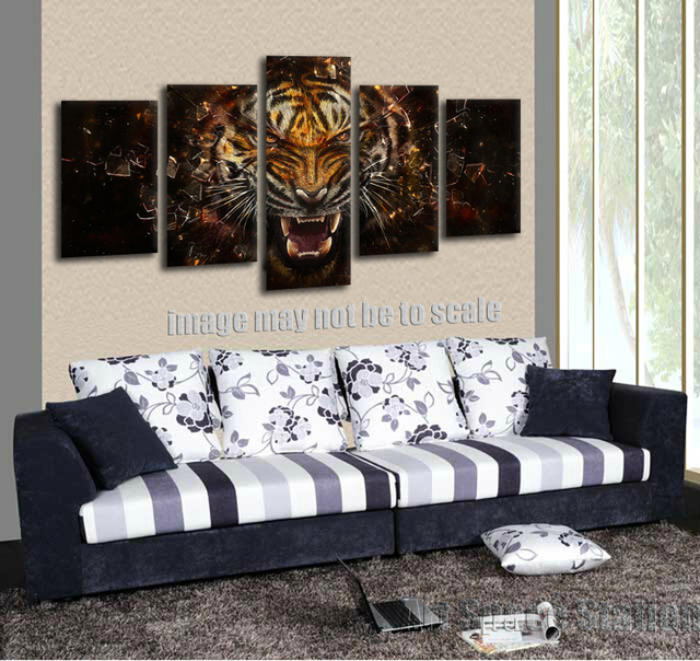 No frame 5 panel wall art picture of roaring tiger poster abstract canvas prints large animals
