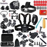 SnowHu 34 in 1 for Gopro 5 Accessories Set for go pro hero 8 7 6 5 4 3 kit for Eken h8 h8r For xiaomi yi 4k EVA case GS50