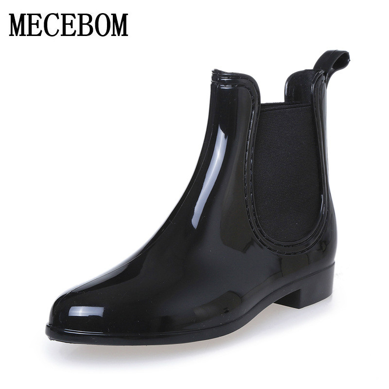Rubber Boots 2017 Waterproof Trendy Jelly Women Ankle Rain Boot Elastic Band Solid Color Rainy Shoes