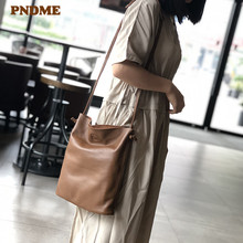 купить PNDME large capacity first layer cowhide bucket bag soft genuine leather simple wild shoulder bag for women's composite bag дешево