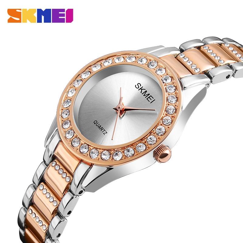 SKMEI Luxury Crystal Wristwatches Womens Ladies Stainless Steel Strap Elegant Gold Quartz Watches Simple Relogio Feminino