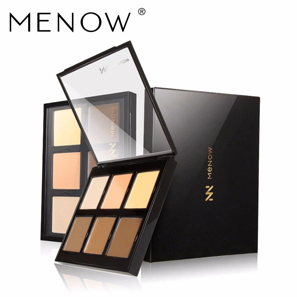 MENOW 6 Colors Concealer Cover spot Covered smallpox Modifying facial contours Pores Palette Cosmetics Natural Makeup CO01