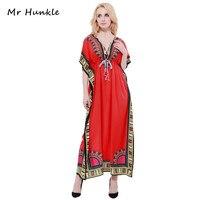 מר Hunkle מסורתי עיצוב 2017 אופנה חדשה הדפסת בגדים אפריקאים דאשיקי צוואר רקום שמלות אפריקאיות נשים נחמד