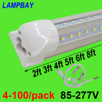 4 100/pack LED Tube Lights V shaped 270 angle 2ft 3ft 4ft 5ft 6ft 8ft Bar Lamp T8 Integrated Bulb Fixture Linkable Super Bright
