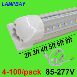 4-100/pack LED Tube Lights V shaped 270 angle 2ft 3ft 4ft 5ft 6ft 8ft Bar Lamp T8 Integrated Bulb Fixture Linkable Super Bright