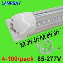 Tubo de luzes led em forma de v, 4 100/pacote, 270 ângulo 2ft 3ft 4ft 5ft 6ft 8ft, lâmpada de barra t8 lâmpada integrada linkable super brilhante