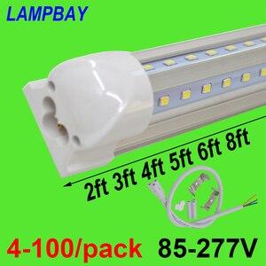 Image 1 - Tubo de luzes led em forma de v, 4 100/pacote, 270 ângulo 2ft 3ft 4ft 5ft 6ft 8ft, lâmpada de barra t8 lâmpada integrada linkable super brilhante
