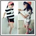 Высокая мода девушки летом стиль одежды для детей с коротким рукавом костюм девушки шорты + майка 2 шт. детский спортивный костюм