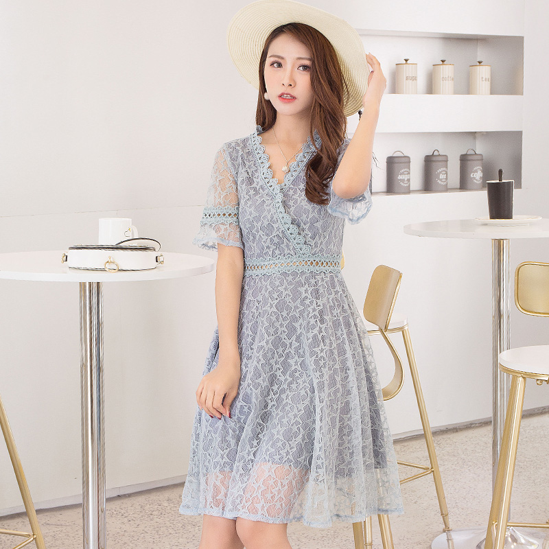 2018 New Summer Women Long dress Short Sleeve Slim Lace A Word Love Child Dresses Pink Blue 7097-1