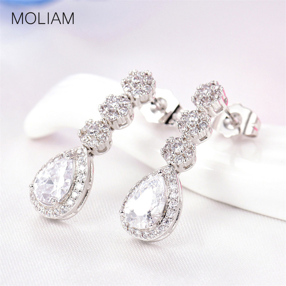 MOLIAM Luxury Dangle Drop Earings Fashion Jewelry 2017 Cubic Zirconia Teardrop Charming Wedding Bridal Earrings Brinco MLE800 teardrop decorated hook drop earrings