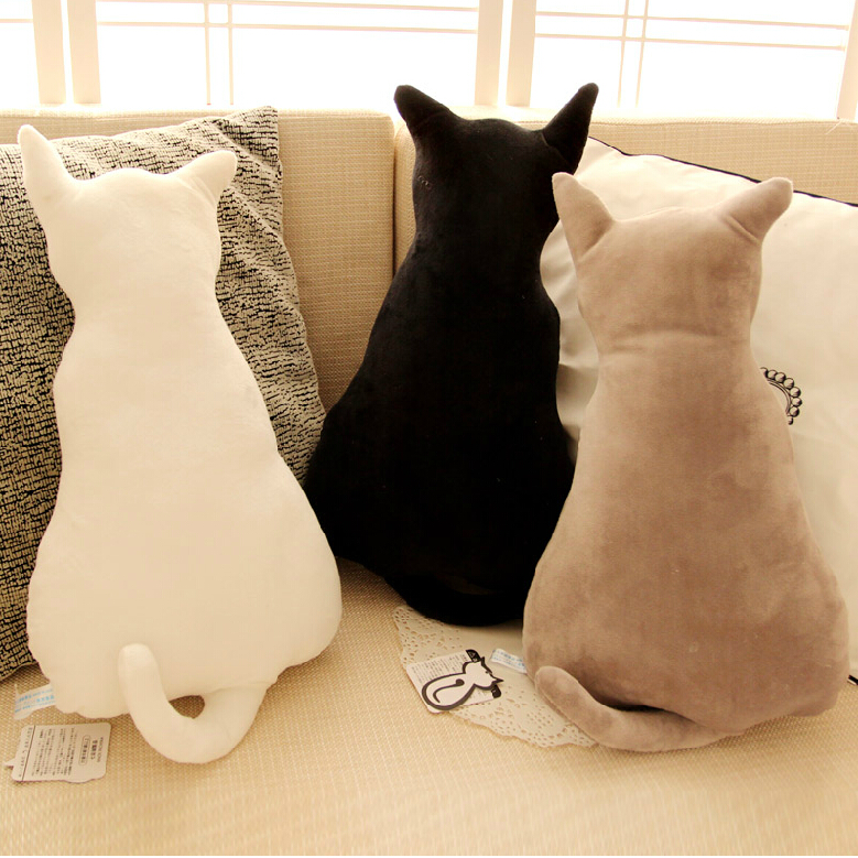 ФОТО 1pc 45cm super cute soft plush back shadow cat plush toys seat sofa pillow cushion stuffed cartoon pillow birthday gift for girl
