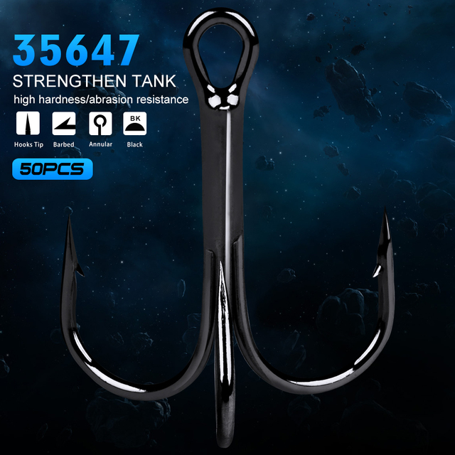 50pc FishHook Fishing Hook High Carbon Steel Treble Hook Fishing Tackle Round Bent Treble Saltwater Bass 2#-14#