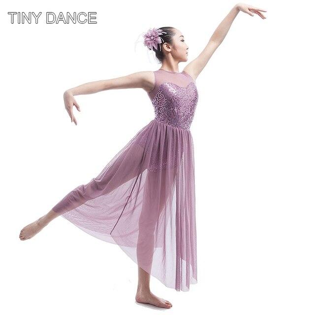 New Stunning Lyrical Sequin Dress for Adult Performance Costume Women s Ballet  Dancing Long Mesh Contemporary Dress 16031A 0ea2b8dd3