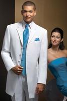 Four Buttons White Jacket Pant Bule Vent Tie Handkerchiefs Bespoke Men Suits Latest Designs High Quality