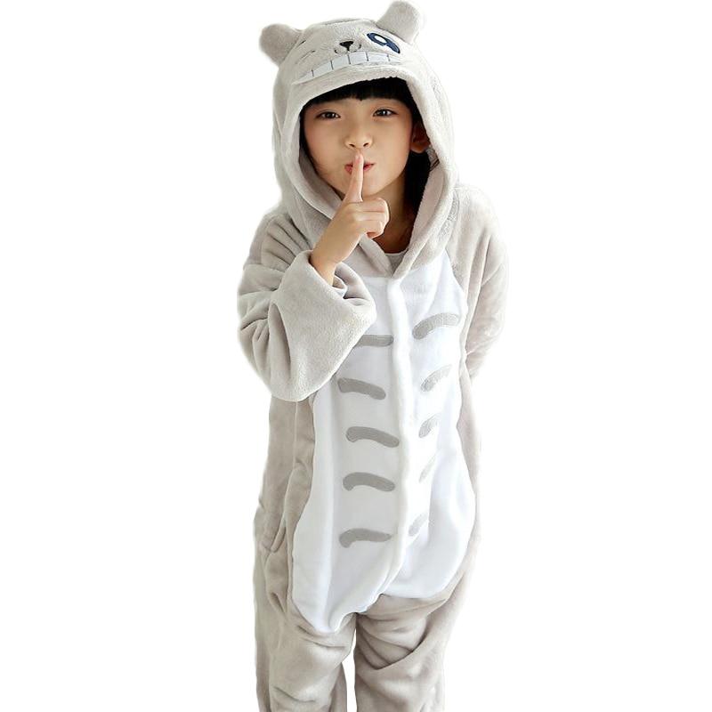 Зимові дитячі піжами для хлопчиків Totoro Різдвяні піжами для дівчаток Flannel Піжами для тварин Дитячі теплі піжами набори Onesies Діти
