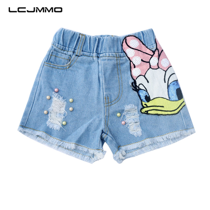 LCJMMO Girls Shorts Jeans Summer Cartoon Daisy Duck Pattern Baby Girl Ripped Jeans Short Demin Pants Pearls Kids Trousers 1-6Yrs