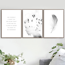 Black White Girl Feather Quotes Wall Art Canvas Painting Nordic Posters And Prints Wall Pictures For Living Room Bedroom Decor sunpro vista 3 450w white