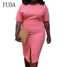 FUDA Big Size 3XL Summer Elegant Split-invisible Zipper Slim Dress Short Sleeve O-neck Bodycon Casual Women Clothing