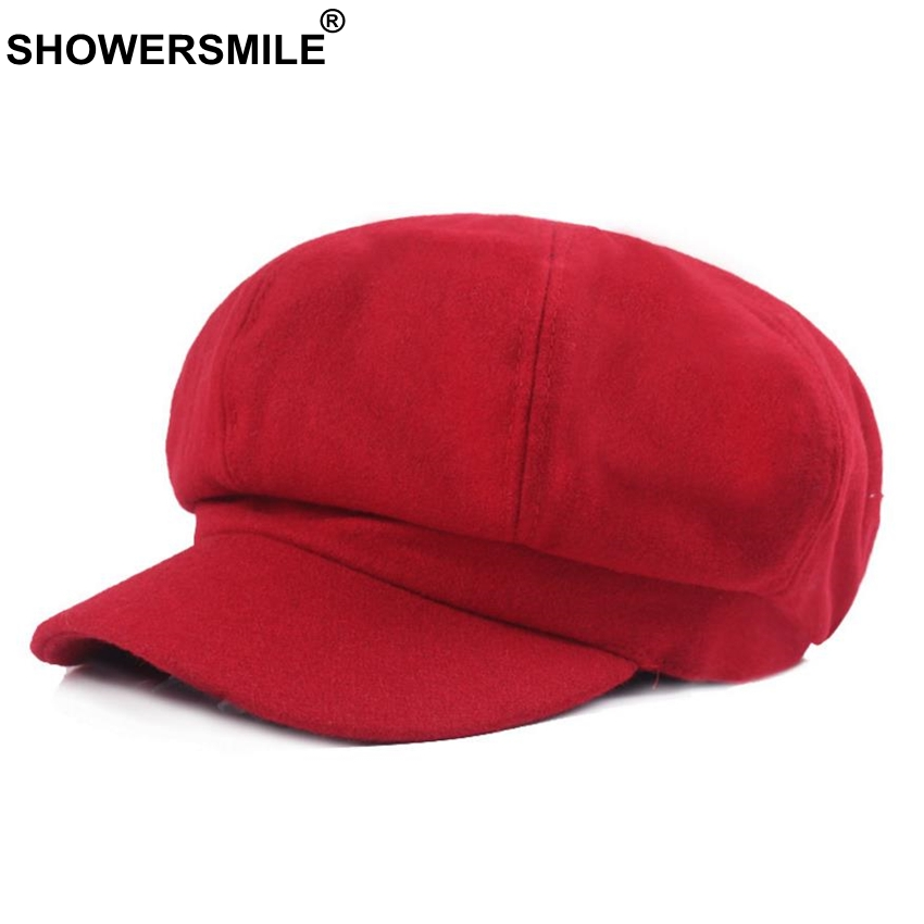 SHOWERSMILE Red Cotton Hat Women Newsboy Cap Autumn Winter Vintage Octagonal Cap Casual Elastic Hat Female Painter British Cap